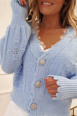 Lucey Perforated Cardigan | Blue