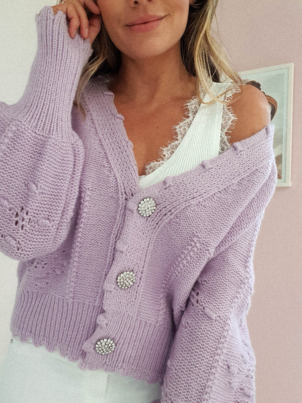 Lucey Perforated Cardigan | Lilac
