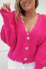 Lucey Perforated Cardigan | Fuchsia