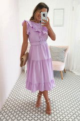 Sorcha Ruffle Midi Dress | Lilac