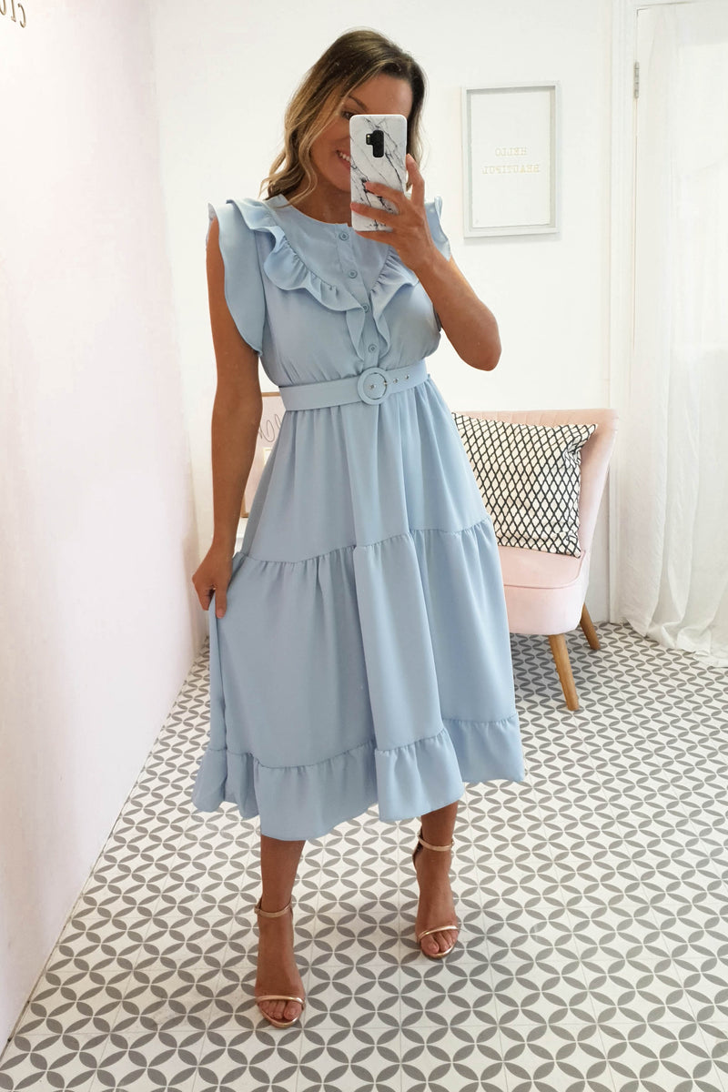 Sorcha Ruffle Midi Dress | Blue