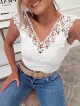 Piper Lace Detail Bodysuit | White