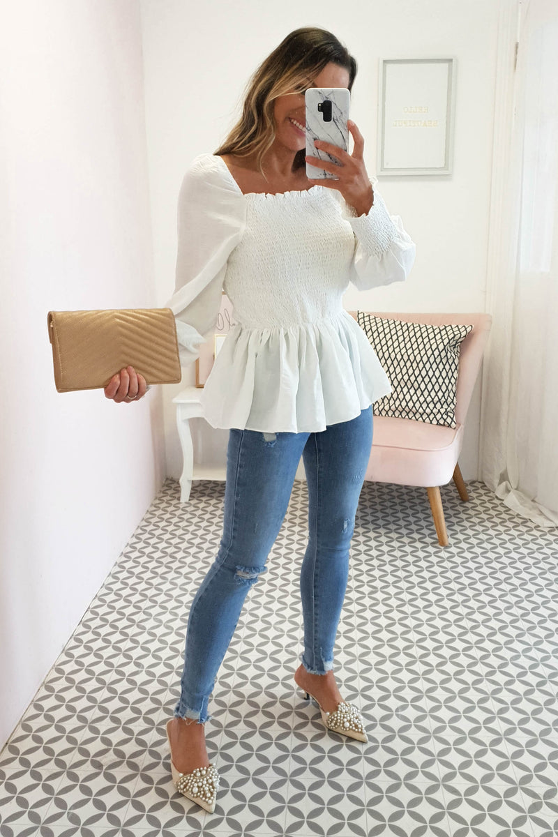 Kayla Peplum Long Sleeve Top | White