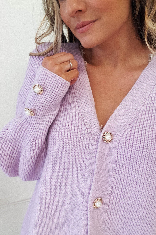 Nester Soft Knitted Cardigan | Lilac