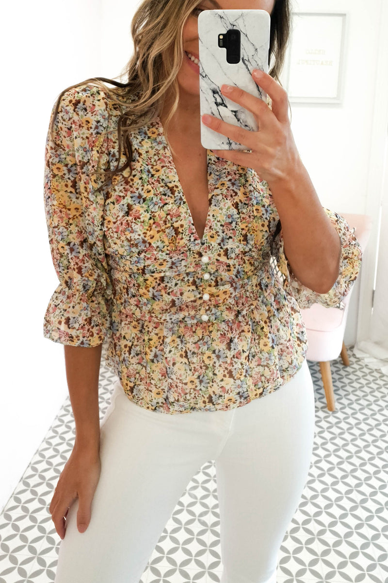 Dalina Floral Top | Mixed Yellow Print
