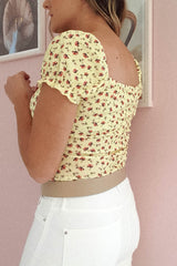 Pebble Floral Crop Top | Yellow