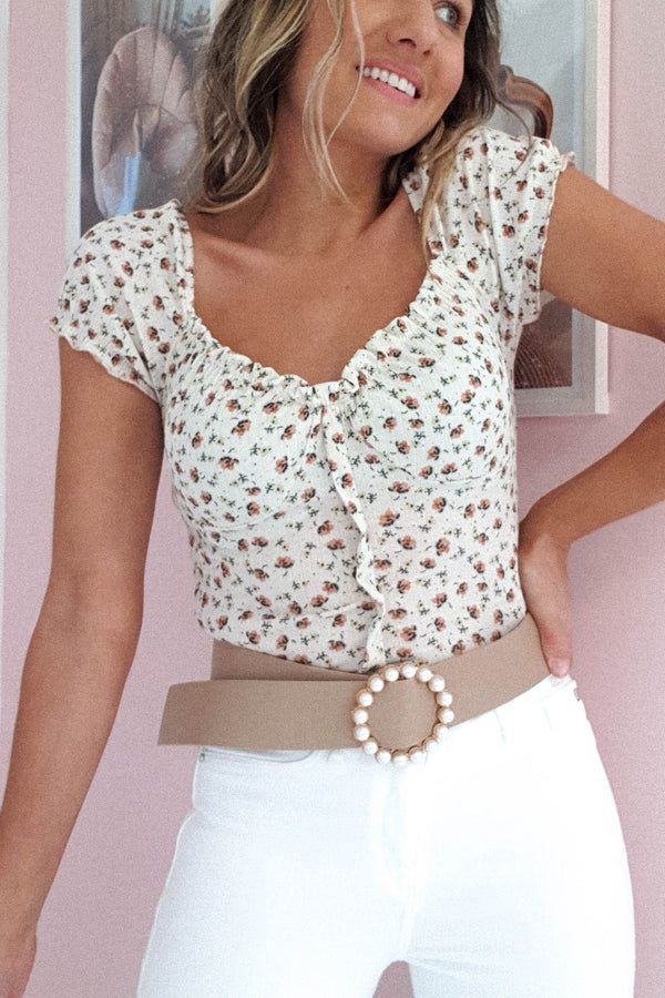 Pebble Floral Crop Top | White