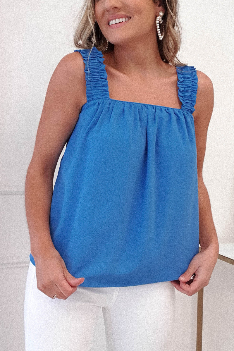 Stacie Tie Back Top | Blue