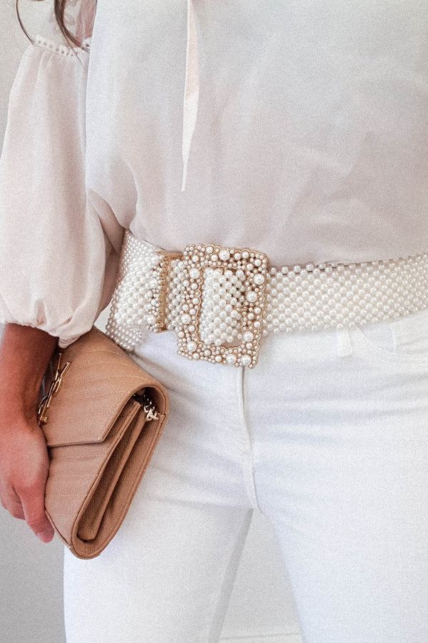 Miles Faux Pearl Belt | Square Buckle