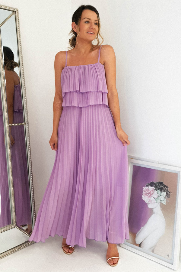 Bexley Pleated Midi Dress | Lilac