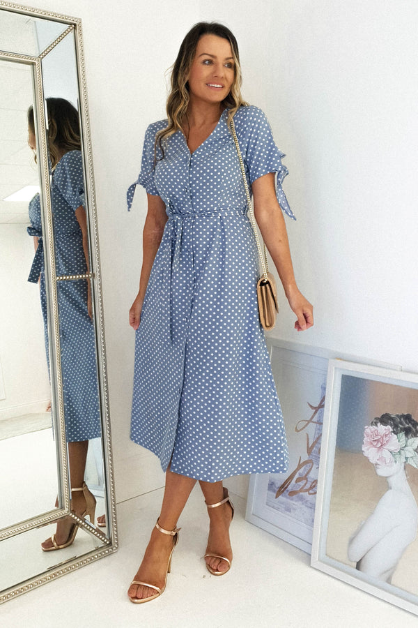 Lylia Polka Dot Print Midi Dress | Blue