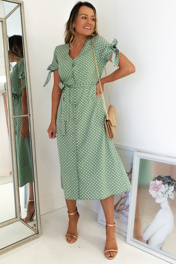 Lylia Polka Dot Print Midi Dress | Green