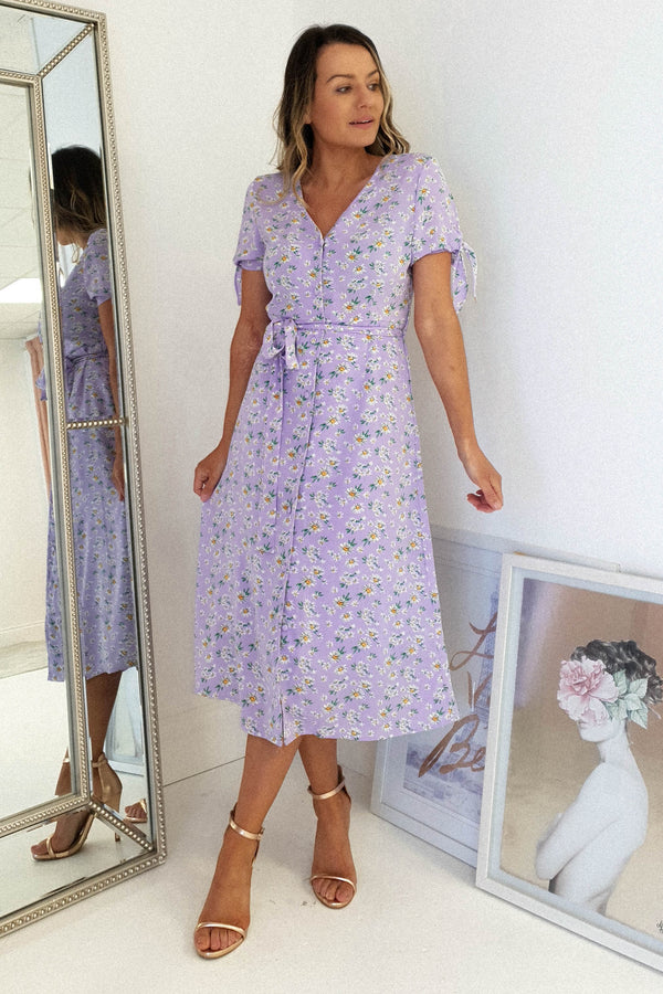 Lottie Floral Print Midi Dress | Lilac