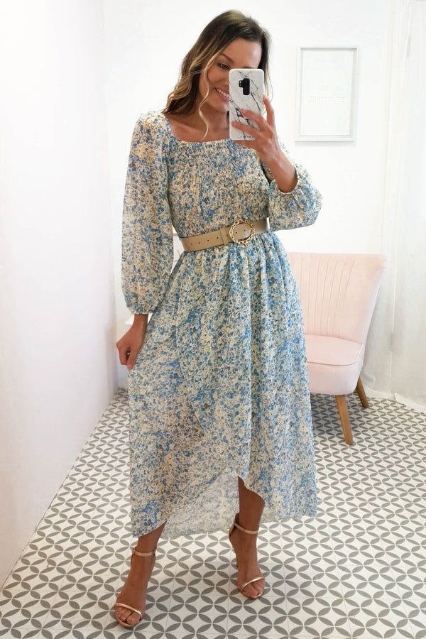 Amaya Floral Print Midi Dress | Blue Print