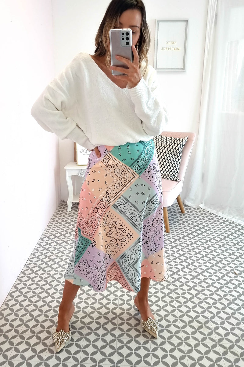 Gemini Midi Skirt | Mixed Print