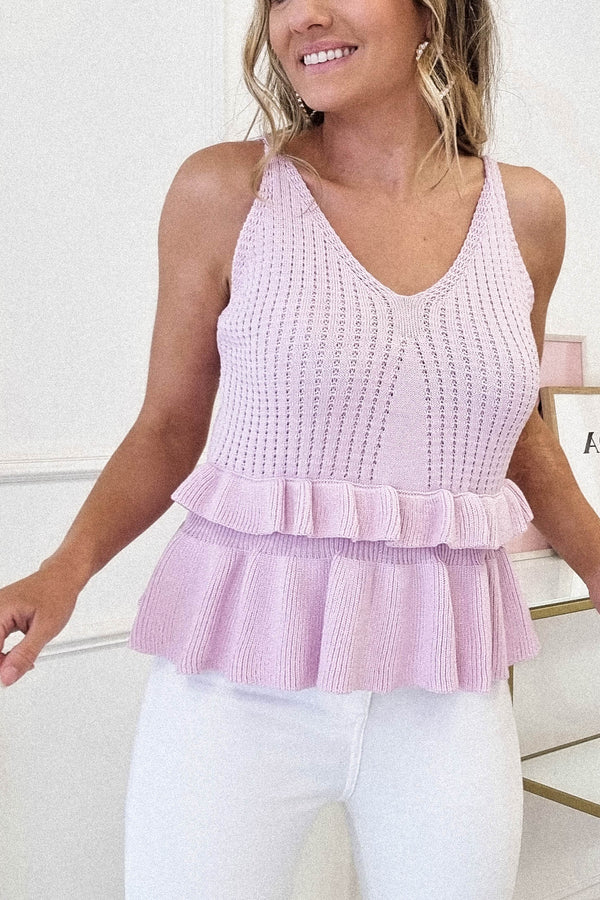 Emer Knitted Peplum Top | Lilac