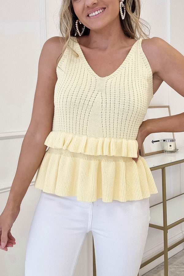 Emer Knitted Peplum Top | Yellow