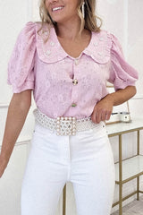 Faith Vintage Embellished Collar Top | Pink
