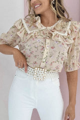 Sweet Pea Floral Blouse | Beige