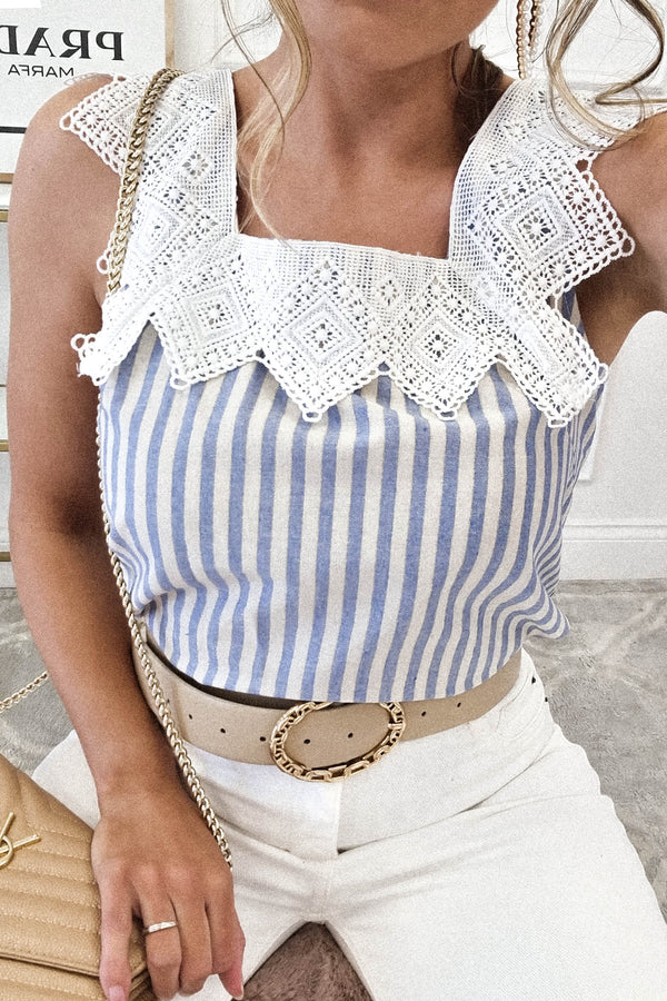 Zara Linen Striped Top | Lace Detail