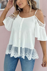 Huda Lace Detail Blouse | White