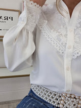 Remi Lace Detail Blouse | White