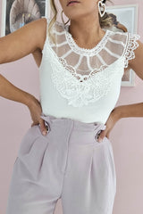 Jamie Lace Bodysuit Top | White