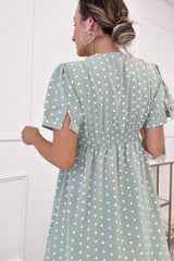 Jade Polka Dot Mini Dress | Sage Green