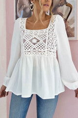 Stephanie Crochet Top | White