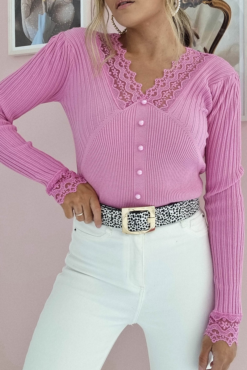 Besos Ribbed Lace Detail Top | Hot Pink