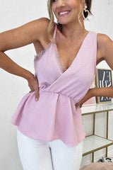 Harley Peplum Lace Detail Top | Pink