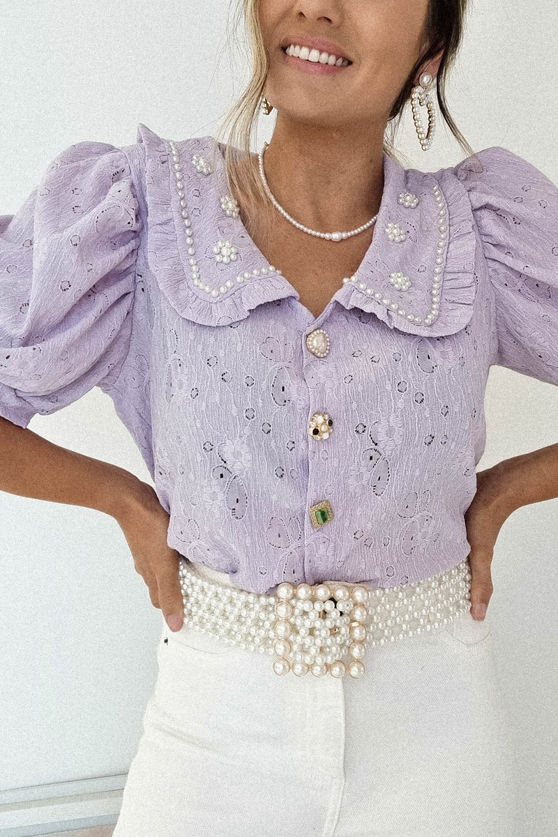 Faith Vintage Embellished Collar Top | Lilac
