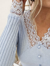 Besos Ribbed Lace Detail Top | Blue