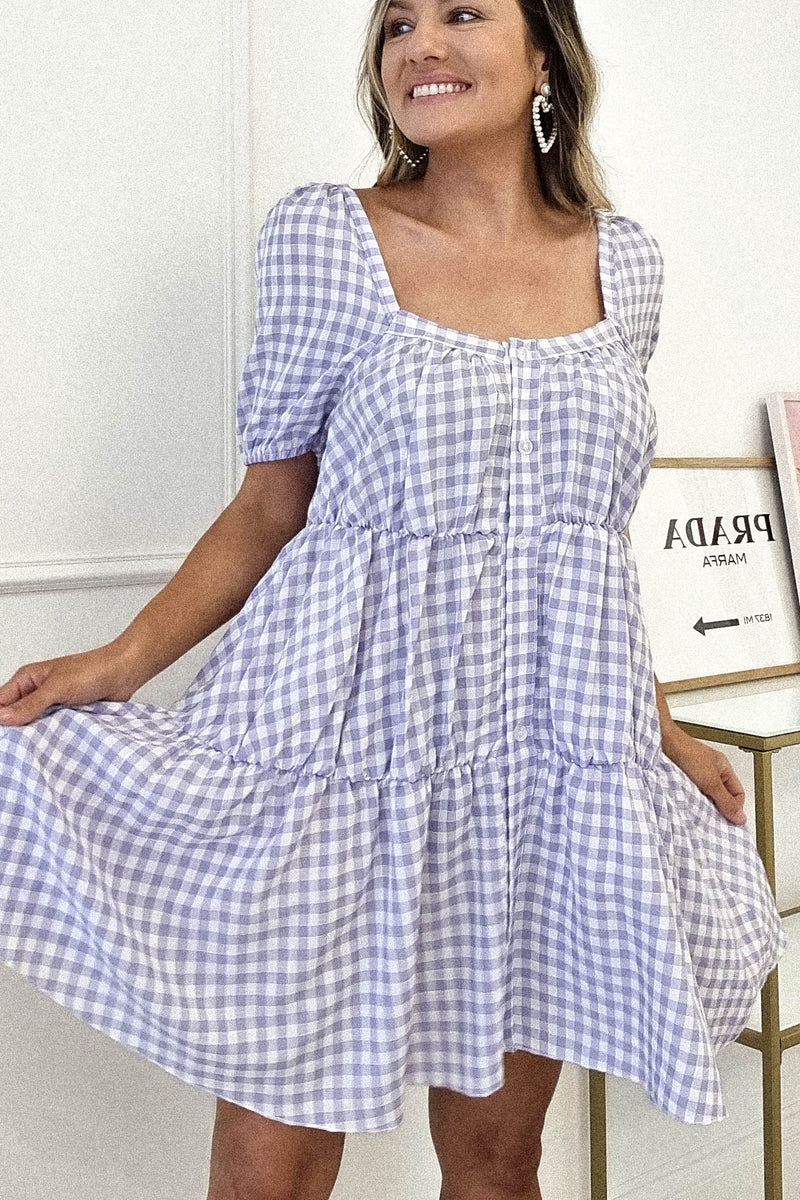 Tea Party Smock Dress | Lilac Gingham