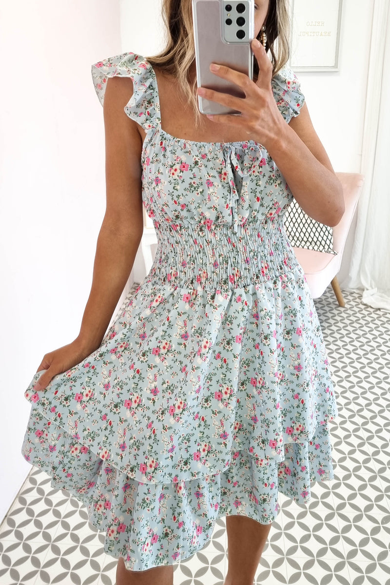 Georgia Mini Dress | Blue Floral Print