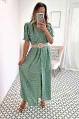 Natasha Printed Maxi Dress | Green