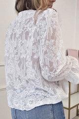 Sabrina Lace Detail Blouse | White