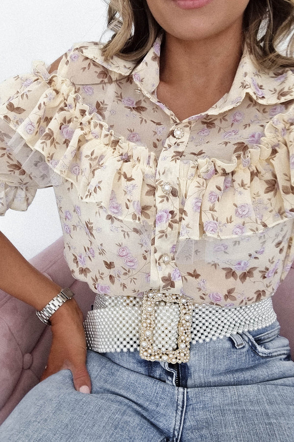 Caitlyn Floral Blouse | Cream
