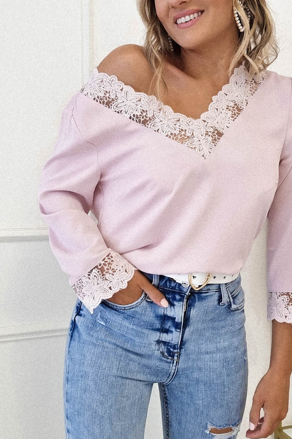 Angie Lace Detail Top | Pink
