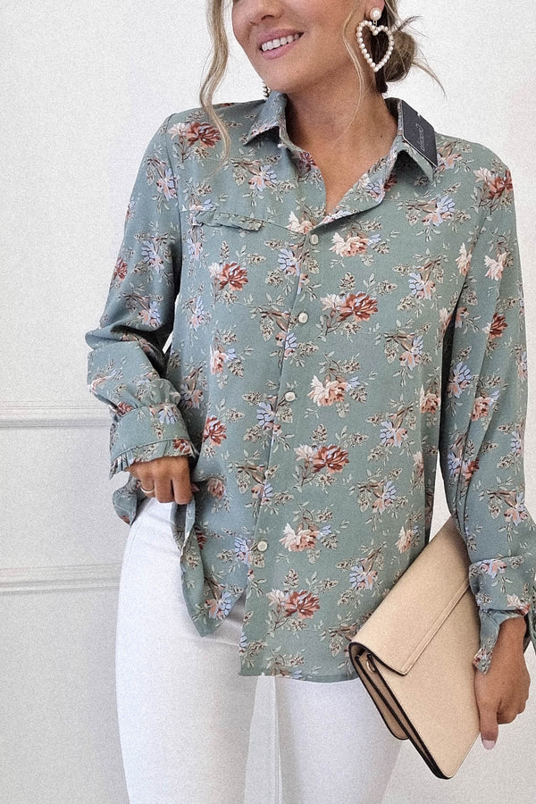 Tweetie Floral Printed Shirt | Green