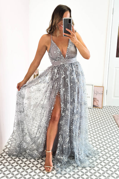 Star Gazer Gown Grey Silver