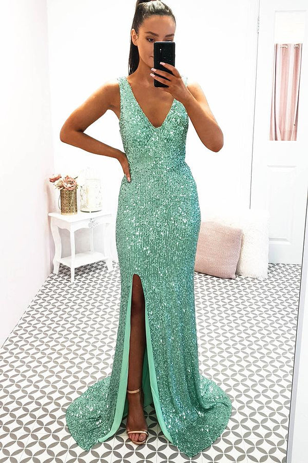 Seville Maxi Dress Mint Sequin