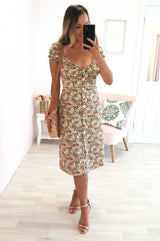 Autumn Leaves Midi Dress Floral