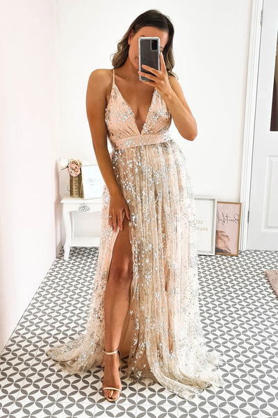 Star Gazer Gown Nude Siver