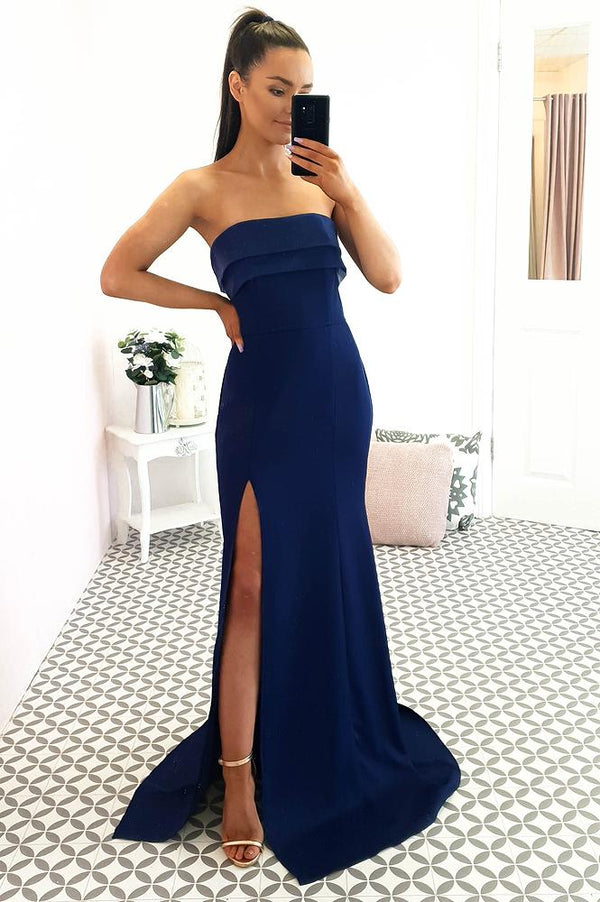 Natale Strapless Gown Navy