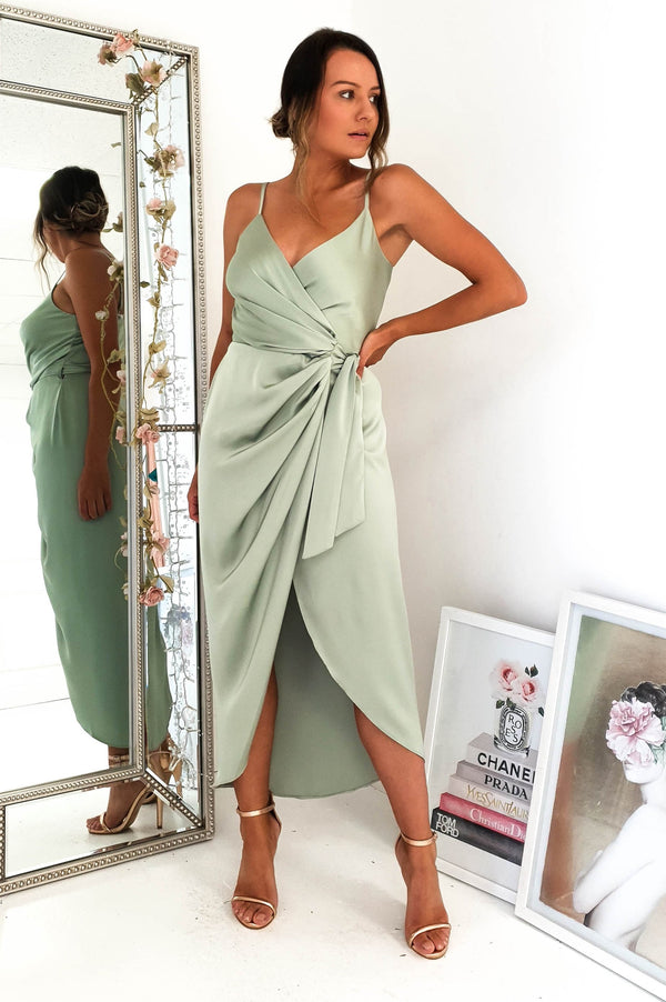 PRE-ORDER Carrie Midi Wrap Dress Sage