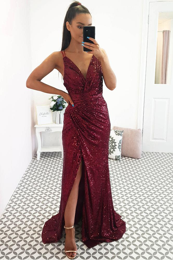 Roma Sequin Gown Burgundy