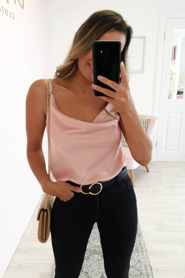 Gigi Satin Tank Top Pink
