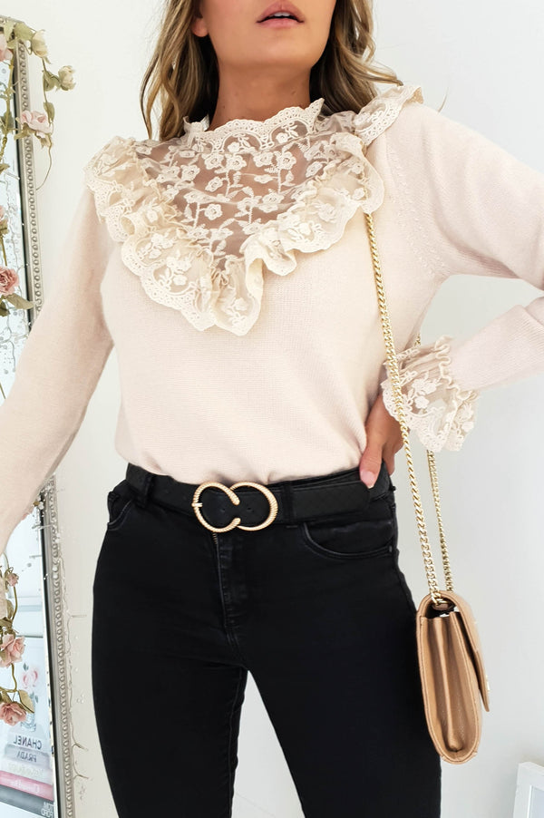 Alicia Lace Embroidery Jumper Beige