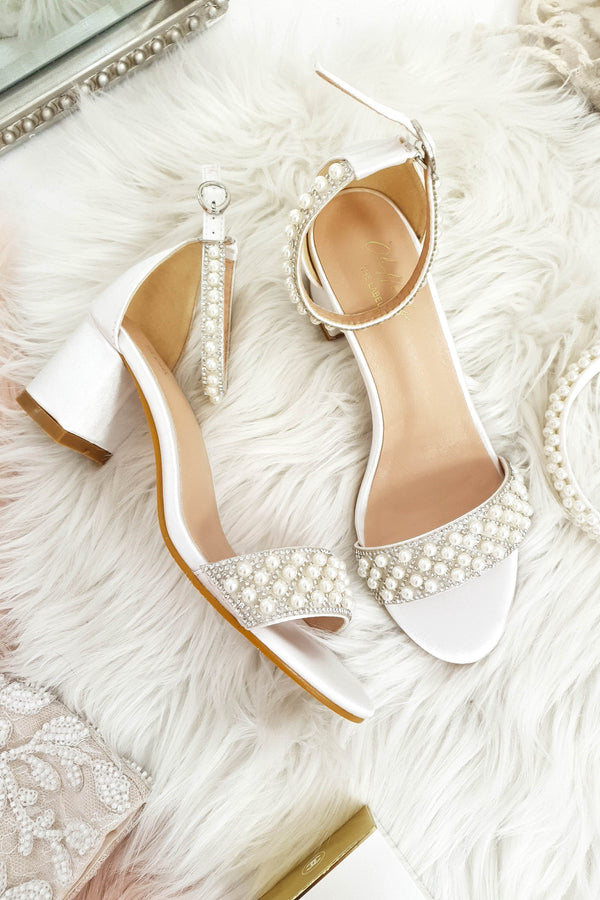 Ava Embellished Satin Ankle Sandals White